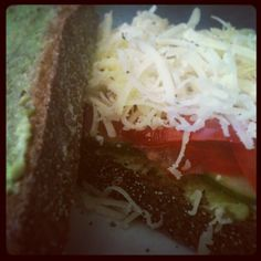 New York rye sourdough with avocado, tasty cheese, tomato & cucumber. Tastes soo good!