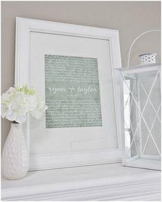 framed first dance song, wedding keepsake, diy; #upcycle #repurpose ; paper…