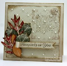 """""""French Foliage"""" Stampin' Up! stamp set and paper snips, and Ann has got busy!  I hope you enjoy this shabby chic card as much as moi!  ♥♥♥ the diagonal scoring and pearl accents - perfection!  Another gorgeous card by Ann Schach."""