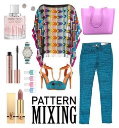 """Pattern Mixing"" by pamphil ❤ liked on Polyvore featuring Jimmy Choo, Missoni Mare, rag & bone, Chanel, Yves Saint Laurent and FOSSIL"