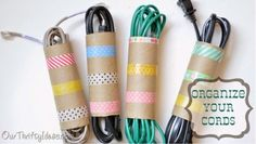 Organize your cords with paper roll.