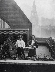 Emmeline and Christabel Pankhurst hiding from police in the roof garden of Clements Inn, October 1908.