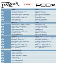insanity and p90x hybrid calendar - Google Search