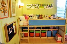 Ikea Kura bed with storage units underneath. Could add tension rod and curtains to hide storage. From the boo and the boy: Isabella's room redo.in progress Loft Bed Storage, Under Bed Storage, Toy Storage, Storage Units, Ikea Storage, Storage Ideas, Ikea Kids, Modern Toy Boxes, Kura Bed