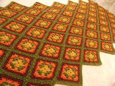 Vtg Green Orange Tan Brown BOHO Crochet Granny Square Lap Afghan SofaThrow 46x80 #Handmade