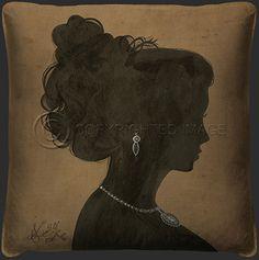 Woman Silhouette Tan Pillow 1