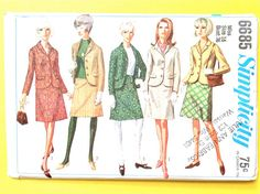 Mod Suit 60s Simplicity 6685 Vintage Sewing Pattern Misses' and Women's Suit The A-line skirt has waistband and side zipper  Bust 32 inches