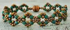 Linda's Crafty Inspirations: Bracelet of the Day: Double Diamond - Copper & Teal