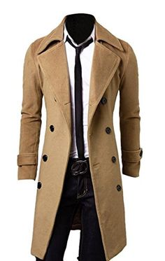 XQS Men Solid Color Double-Breasted Parka Jackets Jacket Mid Long Peacoat