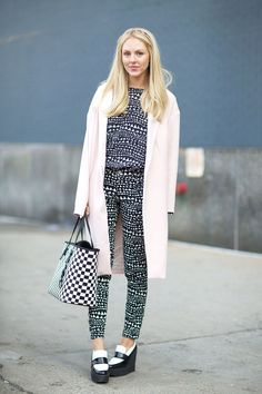 Shea Marie in Stella McCartney top and pants, Celine shoes   - HarpersBAZAAR.com