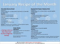 January 2014 Recipe of the Month: Ideal Protein Friendly Recipes! Start the new year off RIGHT... friendly for all phases! #chocolatebananabread #mojitos #leekamole