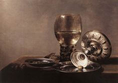 """""""Still-life With Wine Glass And Silver Bowl""""  --  Pieter Claesz  --  Dutch  --  Oil on wood  --  State Museum of Berlin, Germany"""