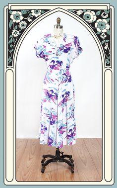 1940s Summer Sunset Tree Print Cotton Novelty Dress – Bygones
