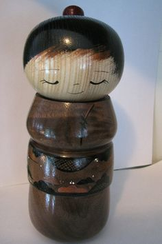 Kokeshi+doll+Walnut+and+ash+wood+by+NaomiGallery+on+Etsy,+$140.00