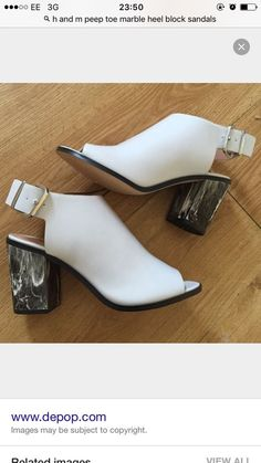 H and M Marble Block Heel Peep Toe Boots Grey 6 BNWOT