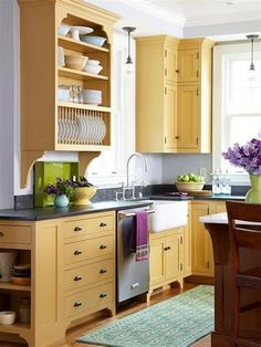 If you now live in the condominium and want to remake your kitchen, you got the right place. We provide you with some of the best models and designs of the condo kitchen remodel. Yellow Kitchen Cabinets, Kitchen Redo, Kitchen Shelves, Kitchen Storage, Kitchen Remodel, Dish Storage, Kitchen Yellow, Plate Storage, Condo Kitchen