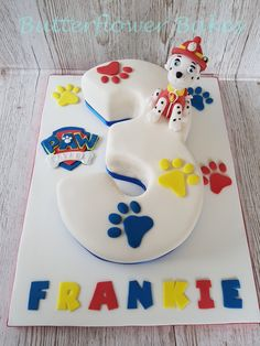 makeup with eyeliners \ makeup with eyeliners Paw Patrol Birthday Cake, 4th Birthday Cakes, Paw Patrol Cake, Paw Patrol Party, 3rd Birthday Parties, 2nd Birthday, Birthday Ideas, Number 4 Cake, Number 3
