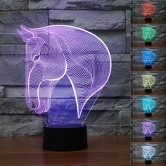 Animal Bedroom 3D Illusion LED Night Light 7 Color Touch Table Lamp Desk Lamp | eBay