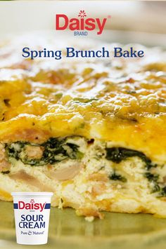 """Tell her """"thanks"""" for all she does with this elegant brunch centerpiece. Rich with spinach, cheddar and Daisy Sour Cream, just make it the night before and bake it before brunch!"""