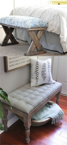 21 beautiful DIY benches for every room. Great tutorials on how to build benches easily out of 2x4s, concrete blocks, or even old headboards and dressers.