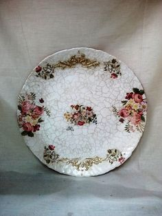 decoupage glass plate with crackle