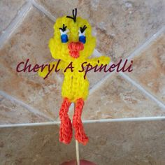 Rainbow Loom TWEETY BIRD. Designed and loomed by Cheryl Spinelli. Rainbow Loom FB page. 03/11/14. See Tutorials Board for pictorial.