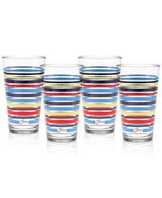 Fiesta Set of 4 Classic Stripe Highball Glasses