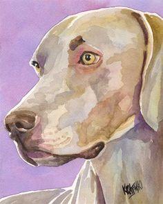 Weimaraner Art Print of Original Watercolor by dogartstudio...