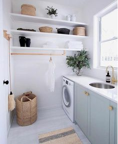 Browse laundry room ideas and decor inspiration for small spaces. Custom laundry rooms and closets, including utility room organization & storage ideas. Laundry Room Organization, Laundry Room Design, Laundry In Bathroom, Modern Laundry Rooms, Laundry Decor, Laundry Room Shelving, Basement Laundry, Colorful Laundry Rooms, Modern Room