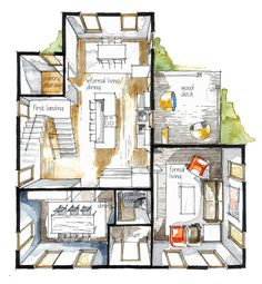 real estate watercolor 3d floor plan i on behance interior design sketchesfloor