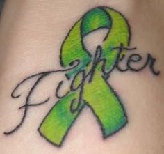 "Going to get this for my brother. Instead of it saying ""Fighter,"" it'll have his name Mom Tattoos, Cute Tattoos, Body Art Tattoos, Lymphoma Tattoo, Hodgkin's Lymphoma, Mental Health Ribbon, Cancer Ribbon Tattoos, Cancer Ribbons, Awareness Tattoo"