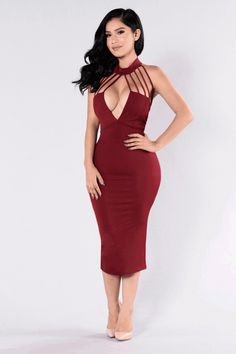 - Available in Mauve, Black, and Burgundy - Long Midi Dress - Fitted - Back Slit - Strappy Chest Design - Exposed Back Zipper - Mock Neck - V Neckline - Thin Padded Cups - 95% Polyester 5% Spandex