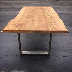 Unique Live Edge Solid Slab Coffee Table On Industrial Steel. Rustic Yet  Modern Furniture Design. Redwood Solid Slob Table Top. Handcrafted Using U2026