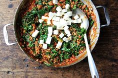 This farro risotto is a one-pot wonder! It's made with water, seasoned with thyme, smoked paprika and lemon, and finished with kale and feta. Farro Recipes, Vegan Recipes, Barley Risotto, Smoked Paprika, Veggie Dishes, Food 52, Kale, Feta, Whole Food Recipes