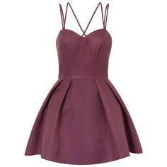 **Chi Chi London Petite Strappy Mini Dress ($110) ❤ liked on Polyvore featuring dresses, petite, purple, purple mini dress, petite dresses, purple dress, strap dress and petite short dresses