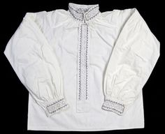 DigitaltMuseum - skjorte til Sognebunad Head Pieces, Aprons, Ruffle Blouse, Jackets, Shirts, Tops, Women, Fashion, Moda