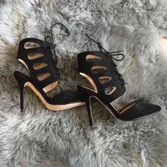 """Cutout Suede heel Brand new no box. Ankle cutout with lace. Black Vegan suede heel 4.25"""". Size 7.5 because it is opened heel  it fits great if your a true 7 or 7.5. Gin Shoes Heeled Boots"""