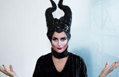 Luiza Souza encarna a personagem Malévola para a maquiagem de Halloween. (Foto: Pedro Abreu)