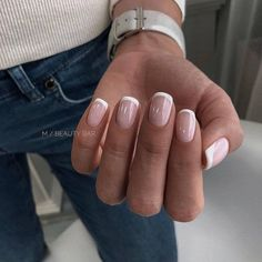 gel nail designs for summer 2019 try on this season 54 83 best coffin nail amp; gel nail designs for summer 2019 try on this season 54 . Short French Nails, Short Fake Nails, Short Nails Art, French Tip Gel Nails, Nail French, Summer French Nails, Long Nails, Classy Nails, Nail Ideas