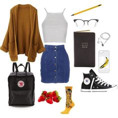 art hoe @ school by studiomag on Polyvore featuring Topshop, Thierry Mugler, HOT SOX, Converse, Fjällräven, CellPowerCases and Spitfire