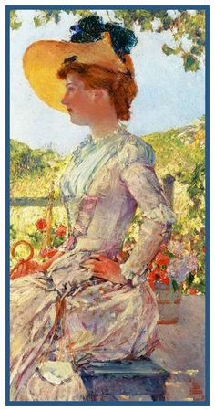 Portrait of a Lady Evelyn by American Impressionist Painter Childe Hassam Counted Cross Stitch or Counted Needlepoint Pattern