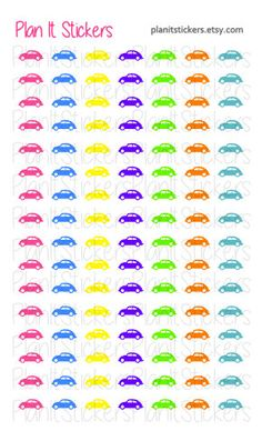 Car Stickers! Set of 112! by PlanItStickers on Etsy