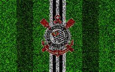 Download wallpapers Sport Club Corinthians Paulista, Corinthians FC, SCCP, 4k, football lawn, logo, Brazilian football club, emblem, black and white lines, Serie A, Sao Paulo, Brazil, Campeonato Brasileiro, Brazilian Championship A Series