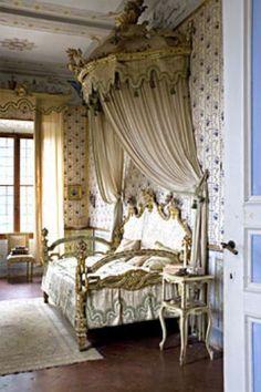 Alfieri's Bedroom - Villa di Geggiano, near Siena Italy. Original trompe l'oeil wallpaper & furniture date to the 1770's. Christine Bauer photography