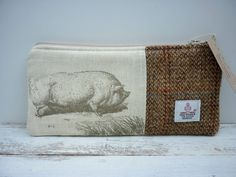 Harris Tweed & Cotton Handmade Makeup Cosmetic Bag Purse, Ladies Scottish Gift, Animals Pig, Cow, Fox