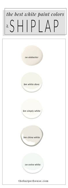 best white paint colors to paint shiplap; sherwin williams alabaster | www.theharperhouse.com Neutral Paint Colors, Interior Paint Colors, Best Bedroom Paint Colors, Favorite Paint Colors, Cabinet Paint Colors, Best Dining Room Colors, Paint Colors For Living Room, Paint Colors For Home, Wall Colors