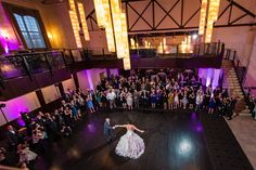 Phoenixville Foundry Wedding: Jenny & Chris » Danette Pascarella Photography  --This angle is great...I will definitely take some photos of you guys dancing from up top :)