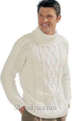 Белый свитер с ирландским узором, вязаный спицами