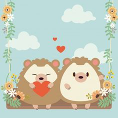 Character of cute couple in love hedgeho. Cute Love Couple, Couples In Love, Flower Birthday, Hedgehog Art, Mini Canvas, Chibi, Baby Art, Bullet Journal Inspiration, Cute Illustration