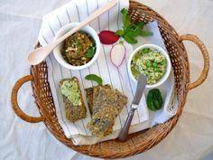 A Summer for Snacks:  Nut and Zucchini Crackers,  Cauliflower Green Pea Spread &  Eggplant Spread